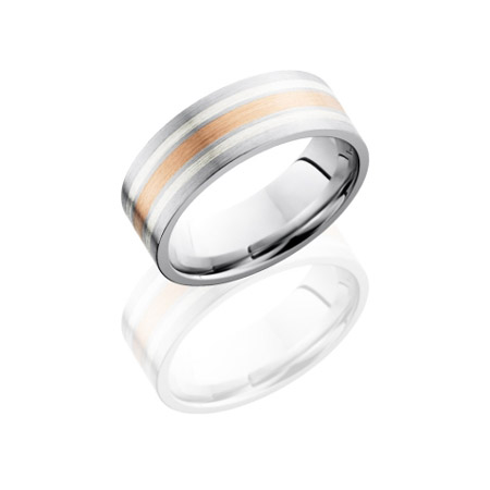Cobalt Chrome Wedding Ring with Rose Gold & Silver Inlay