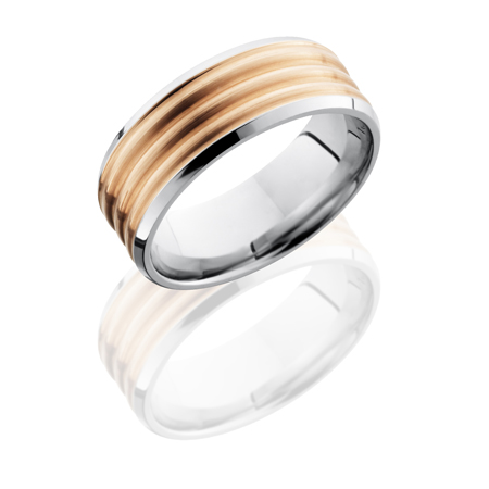 Cobalt Chrome Wedding Ring with 6 mm 14K Rose Gold