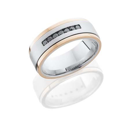 Cobalt Chrome Wedding Ring with Black Diamonds & Rose Gold Edges