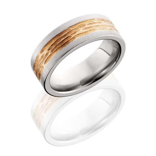 Cobalt Chrome and 14K Rose Gold Tree Bark Wedding Ring