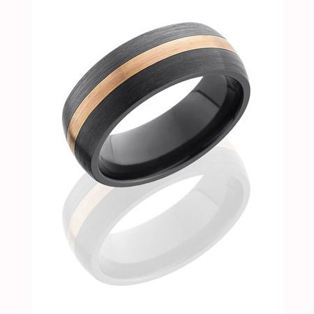 Black Zirconium Wedding Ring with 2 mm Rose Gold Inlay