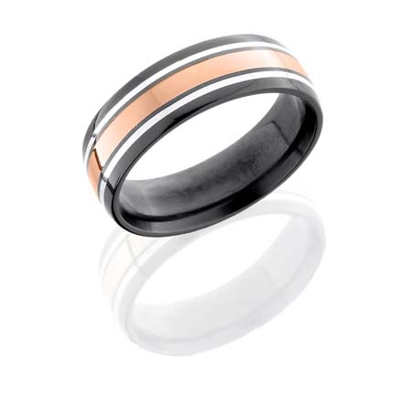 Black Zirconium Wedding Ring with Rose Gold & Sterling Silver Inlays