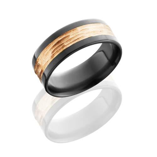 Black Zirconium and 14K Rose Gold Tree Bark Wedding Ring