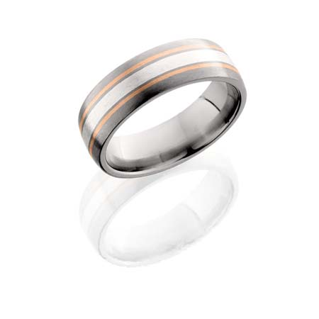 Titanium Wedding Ring with Sterling Silver and Rose Gold Inlays