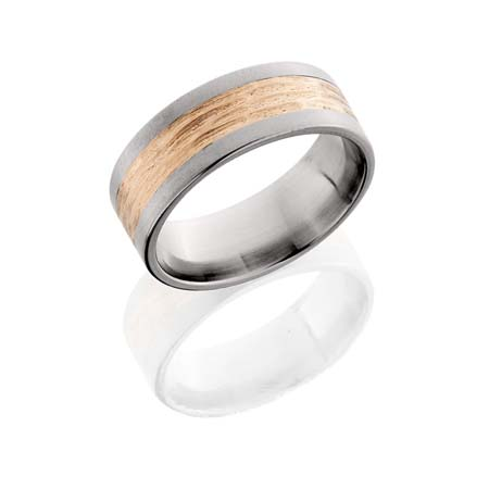 Titanium with Rose Gold Inlay Wedding Ring