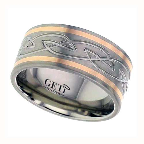 Celtic Knot Titanium Wedding Ring with 18K Rose Gold