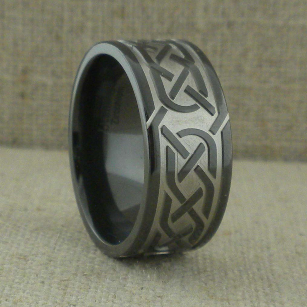 Celtic Wedding Ring in Black Zirconium
