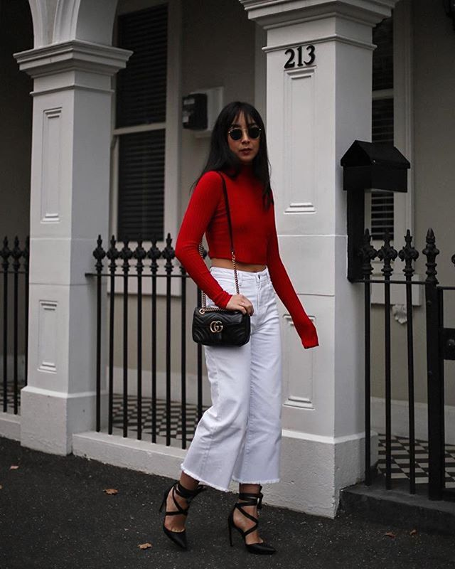 Better off red ✔️@kristywho wears the Solo Mixed Rib Knit Skivvy between shows #mbfwa