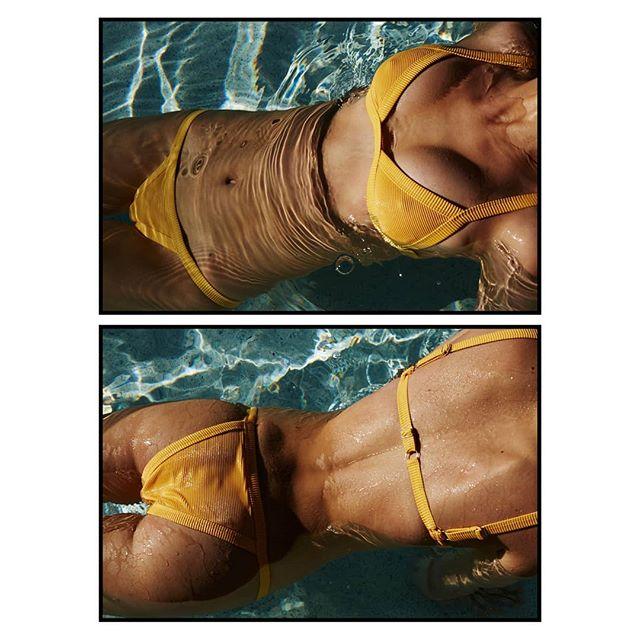 Everything is golden.  @edenbristowe wears the  Charli Ribbed Micro Bikini. #itstwiin