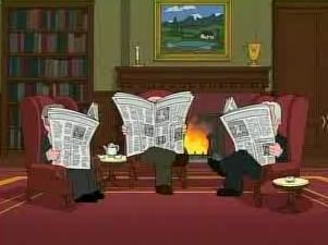 The drama of a London gentleman club as depicted by  Family Guy ( Fox Broadcasting).