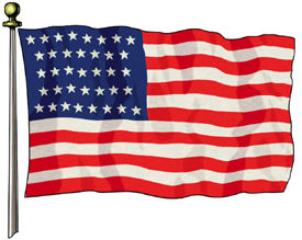 37 stars and stripes forever...Well, actually just until 1876 when Colorado joined the union.