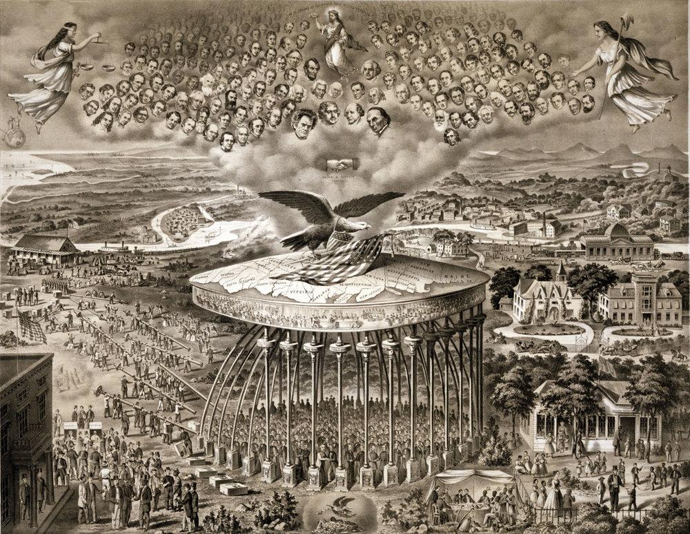 Symbolism of the U.S.'s Reconstruction Era. A new era of flag-waving,giant tyrannical birds.