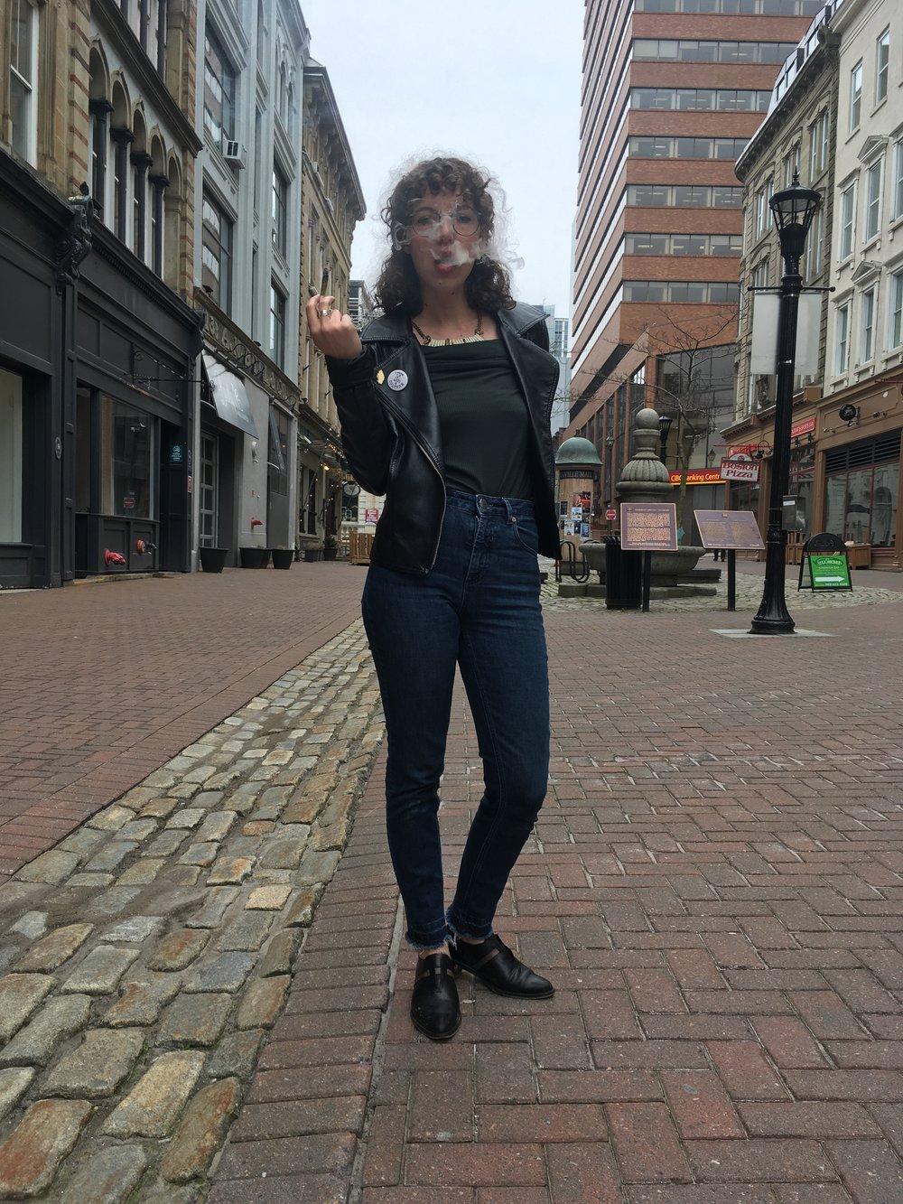 Annie MacEachern smoking-up in the streets of Halifax.  Photo credit: Aimee Power