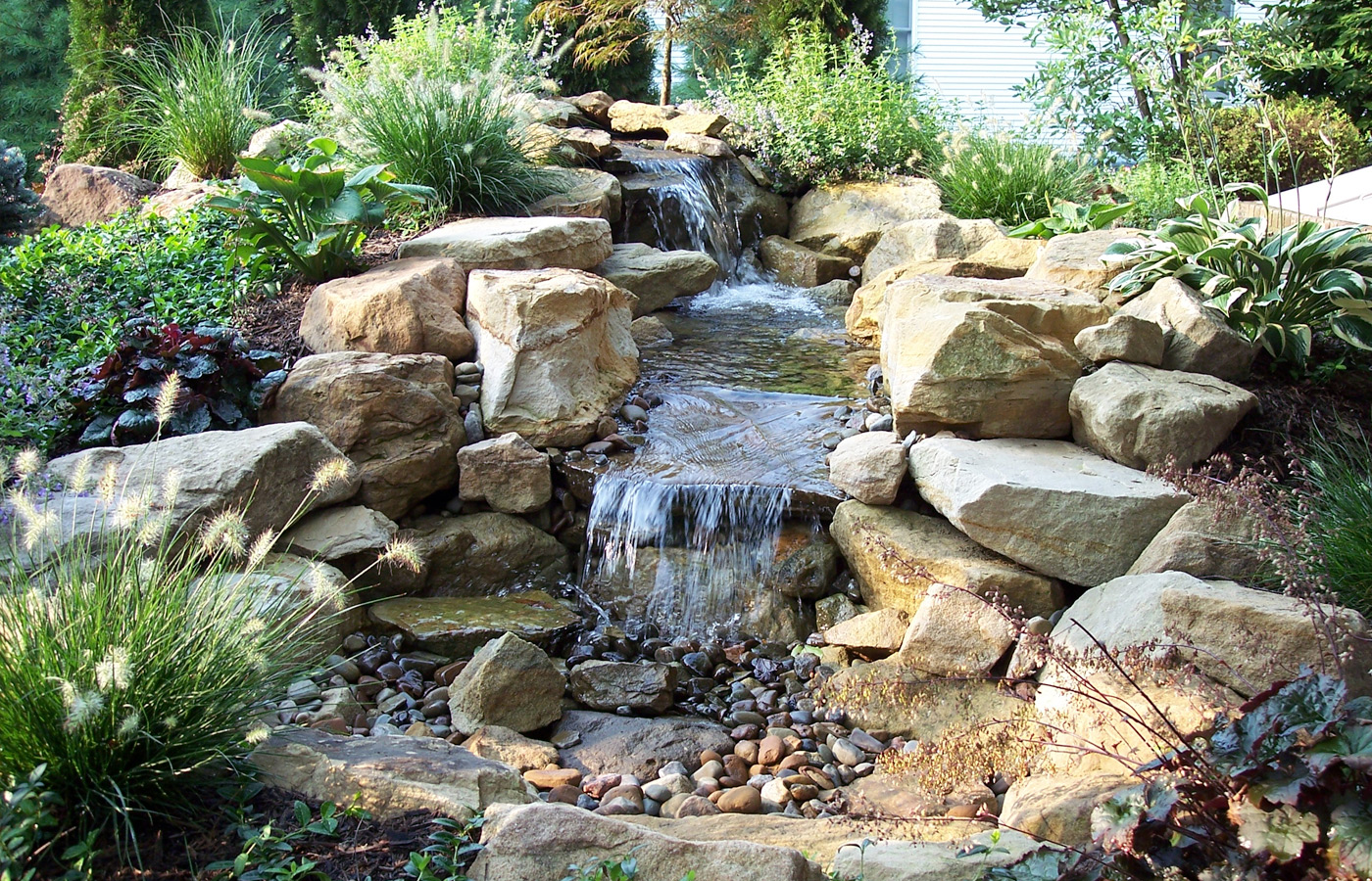 Water features preferred landscapes all irrigation lighting lawn scapes power washing gutters water features tree removal aloadofball Images
