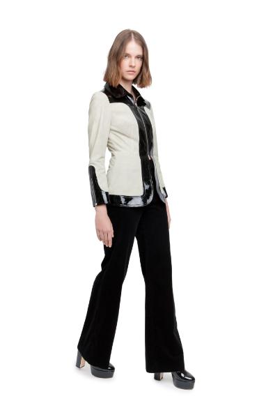 contrast suede jacket