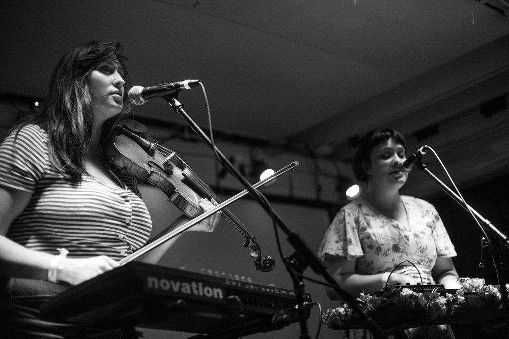 From left to right, Anna and Catherine Wolk performing at Sunnyvale. Photo by Amanda Silberling.