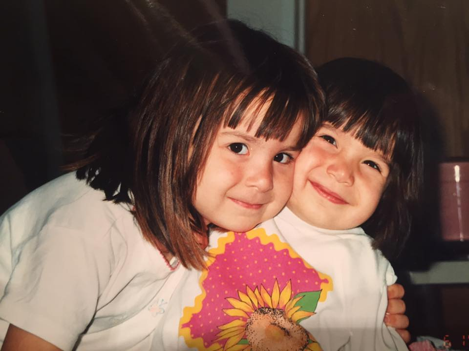 Ana Jayme (right) with older sister (left). Sometime in the 90s.