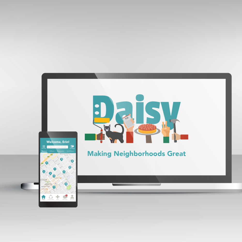 Daisy is an app that allows neighbors to trade services for points, which can also be used at local businesses.
