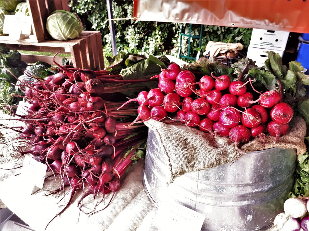 Beets for sale at our stand at Beechwood Market.