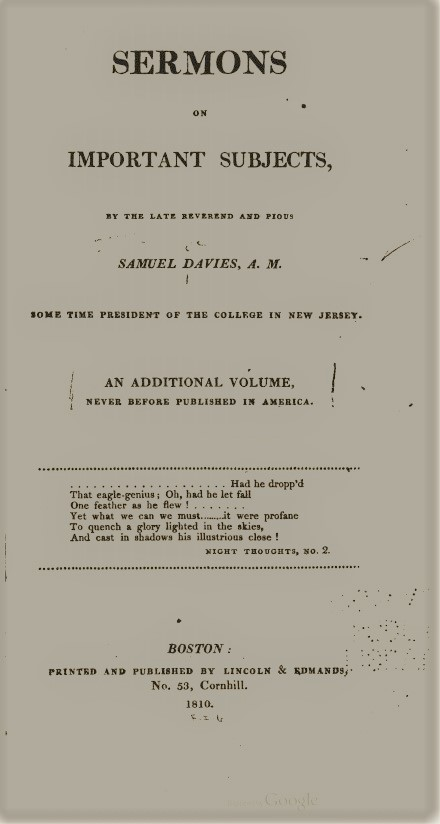 Davies, Samuel -- Sermons on Important Subjects.jpg