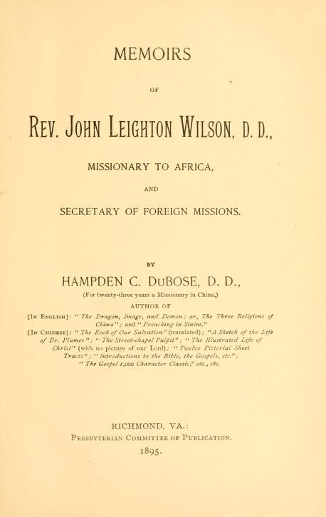 Dubose, Memoirs of John Leighton Wilson.jpg