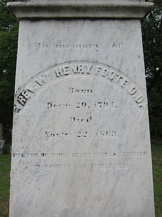 William Henry Foote is buried at Indian Mound Cemetery, Romney, West Virginia.