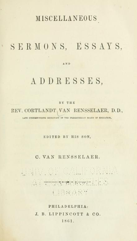 Van Rensselaer, Miscellaneous Sermons, etc..jpg