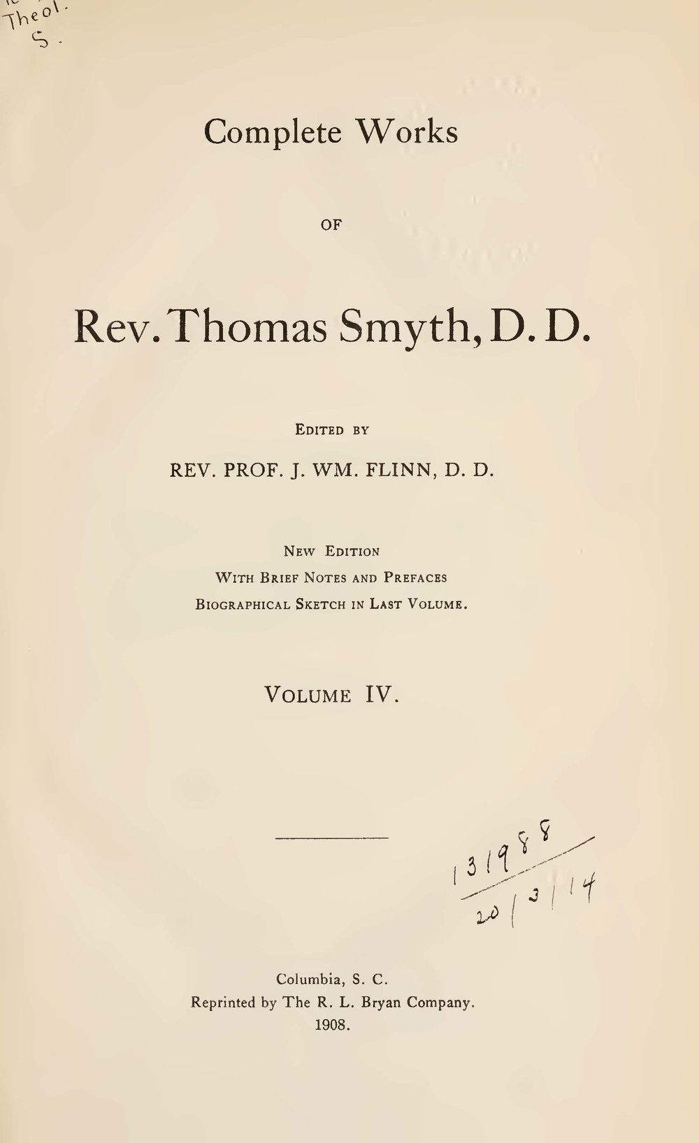 1.  The Name, Nature and Functions of Ruling Elders 2. Theories of the Eldership (from the Biblical Reportory and Princeton Review) 3. Theories of the Eldership (from the North Carolina Presbyterian) 4. The Office and Functions of Deacons in Relation to those of the Pastor and Ruling Elders Defined and Distinguished 5. The History, Character and Results of the Westminster Assembly of Divines. A Discourse in Commemoration of the Bi-Centenary Anniversary of that Body 6. An Ecclesiastical Catechism of the Presbyterian Church for the use of Families, Bible-Classes, and Private Members 7. A Sabbath School Teaching Service for the Whole Church, Instituted by Christ, in Seven Articles 8. The Nature and Claims of Young Men's Christian Associations