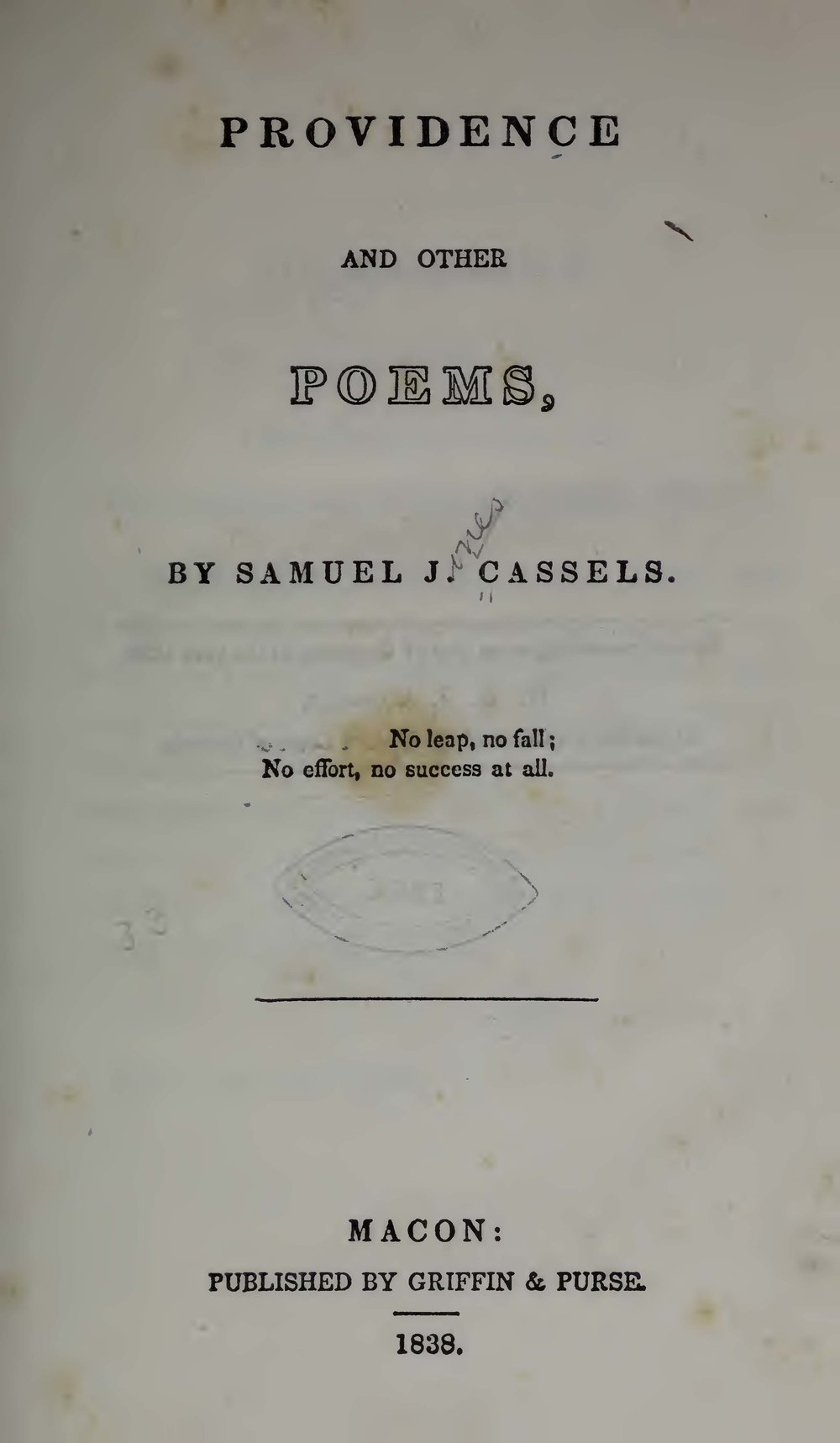Cassells, Samuel J., Providence and Other Poems Title Page.jpg