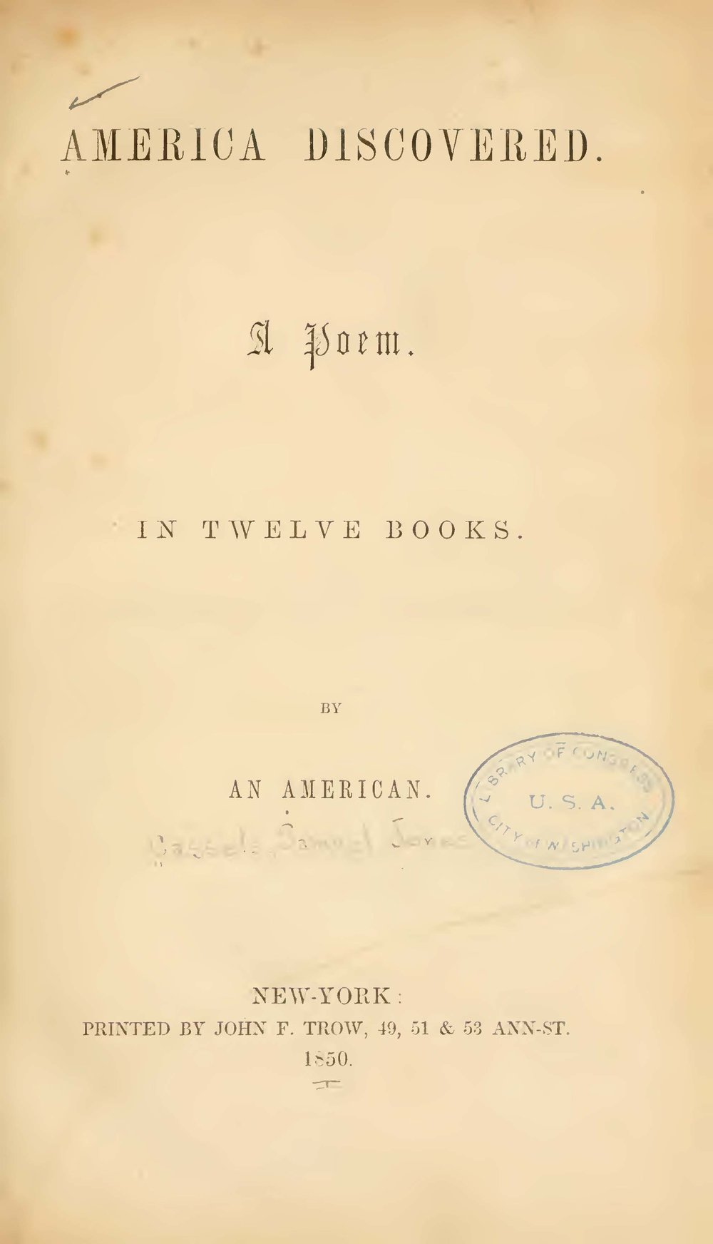 Cassells, Samuel J., America Discovered Title Page.jpg