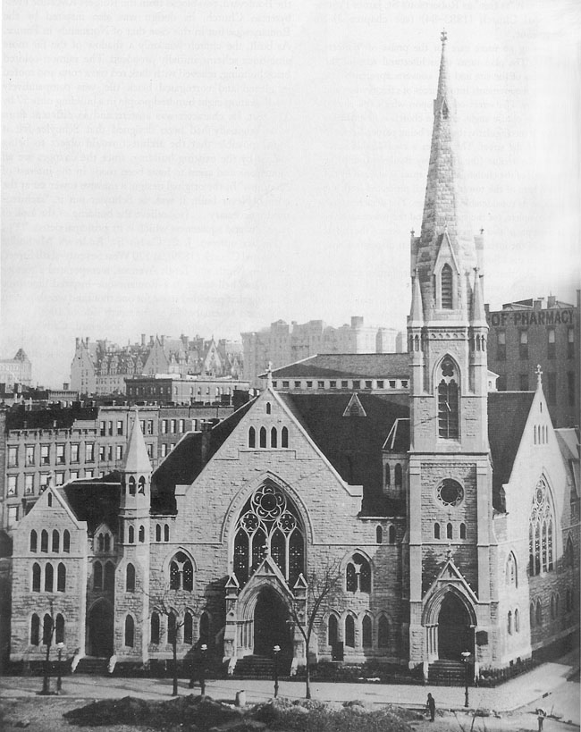 Bloomingdale Reformed Dutch Church in New York City, at the NE corner of Broadway and 68th St. (c. 1895). William Carlos Martyn pastored this congregation from 1883-1890; this church building was built during his pastorate, in 1884-1185.