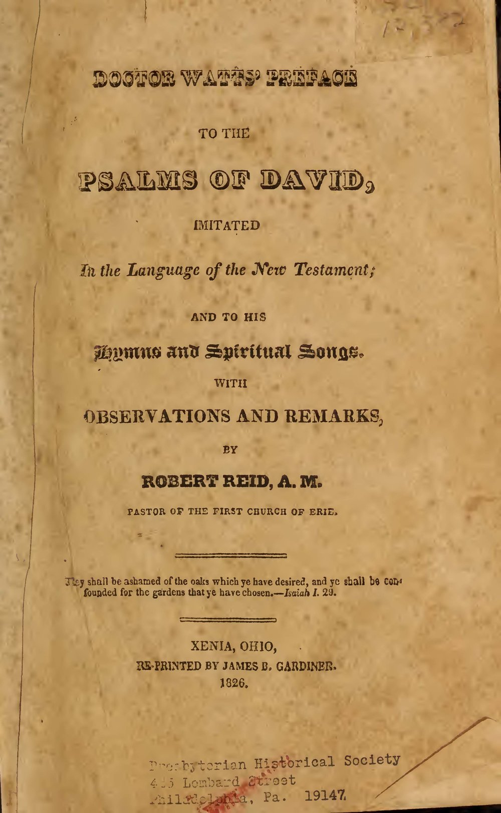Reid, Robert, Doctor Watts Preface to the Psalms of David Title Page.jpg
