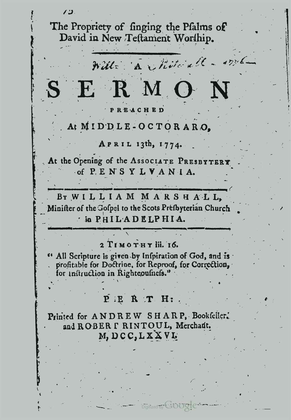 Marshall, William, The Propriety of Singing the Psalms of David in New Testament Worship Title Page.jpg