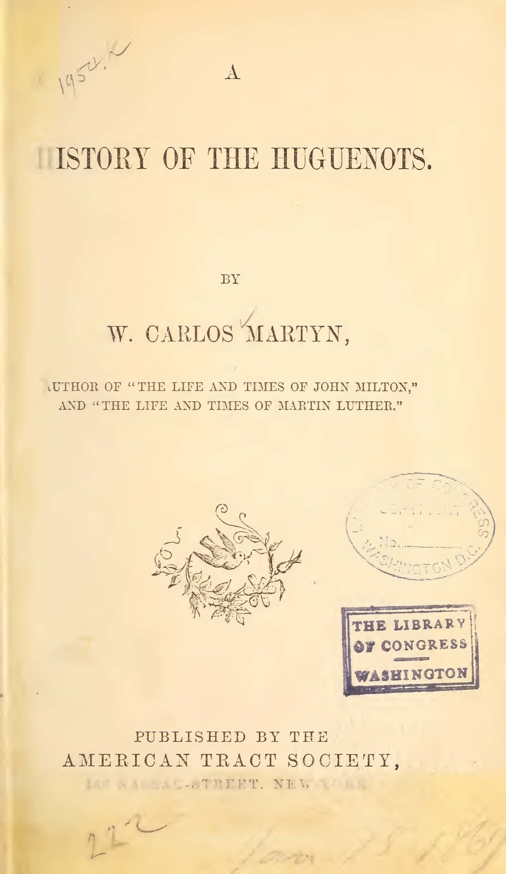 Martyn, William Carlos, A History of the Huguenots Title Page.jpg