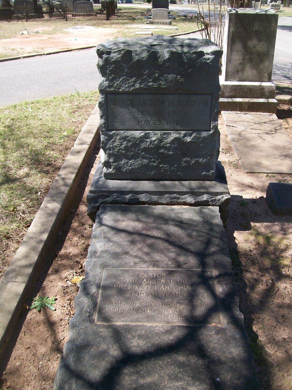 George Andrew Blackburn is buried at Elmwood Memorial Gardens, Columbia, South Carolina.