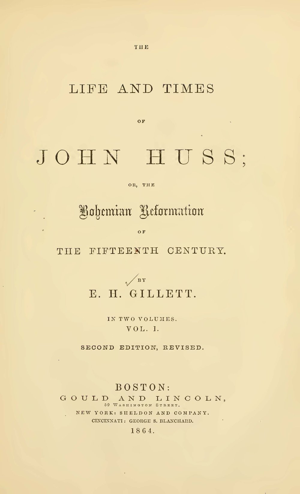 Gillett, Ezra Hall, The Life and Times of John Huss Title Page.jpg