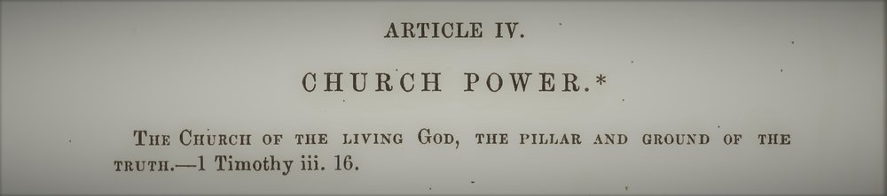 "This article appeared in the October 1874 number of the  Southern Presbyterian Review  (25.4) with the following explanatory footnote: ""According to previous appointment, this discourse was preached before the Presbytery of South Carolina, in the Presbyterian church at Walhalla, on Friday, the 11th September, 1874. The thanks of the body were voted the preacher, and a copy of the sermon was requested, that it might appear in this Review, and in the Southern Presbyterian, and a thousand copies of it in pamphlet form be printed for the use of its ministers, elders, deacons, and church-members. The Presbytery also resolved that when printed, the sermon should be read in every one of its pulpits, on the first Sunday in November, or as soon thereafter as might be practicable."""