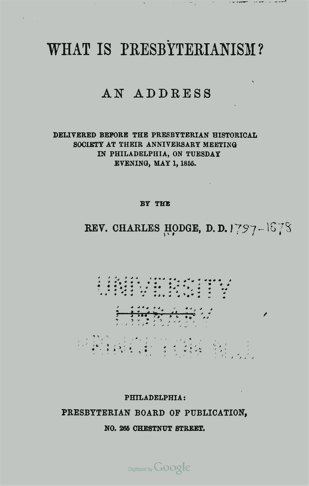 Hodge, Charles, What is Presbyterianism Title Page.jpg