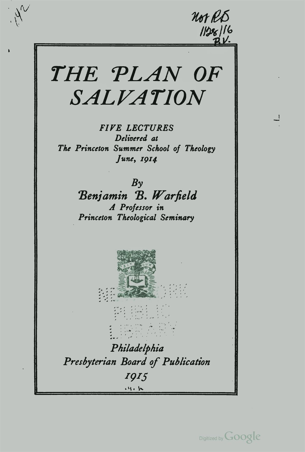 Warfield, Benjamin Breckinridge, The Plan of Salvation Title Page.jpg