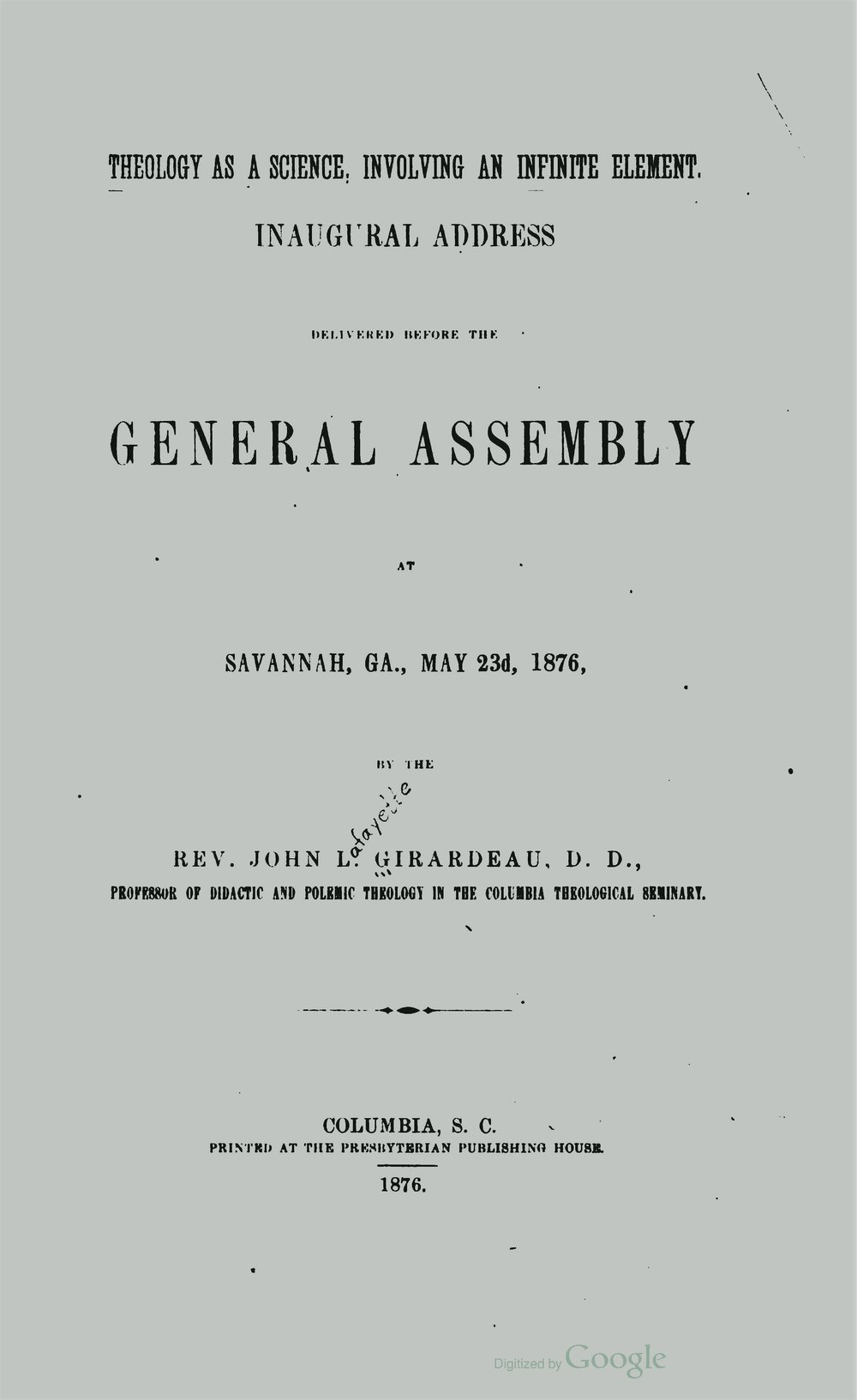 Girardeau, John Lafayette, Theology as a Science Title Page.jpg