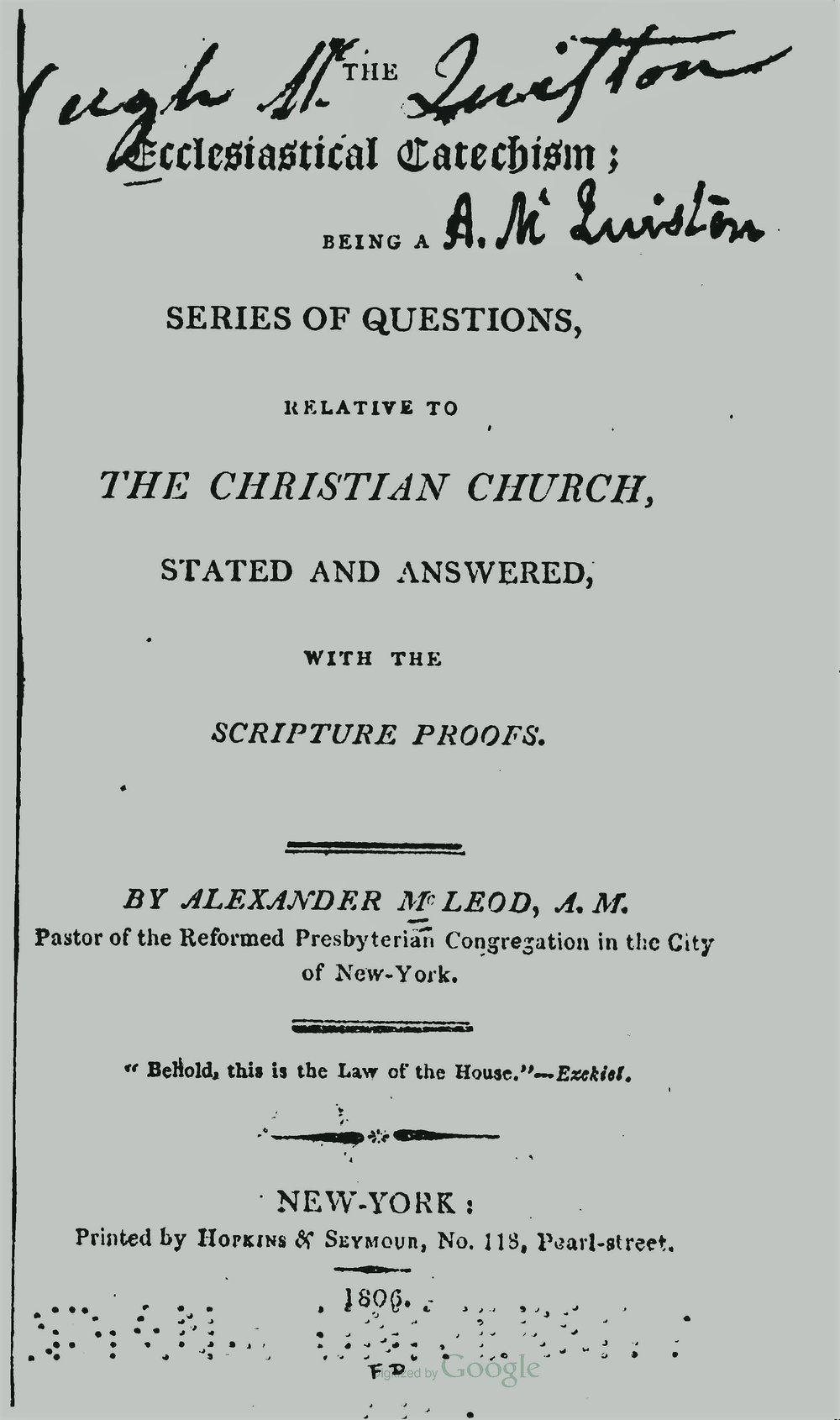 McLeod, Alexander, The Ecclesiastical Catechism Title Page.jpg