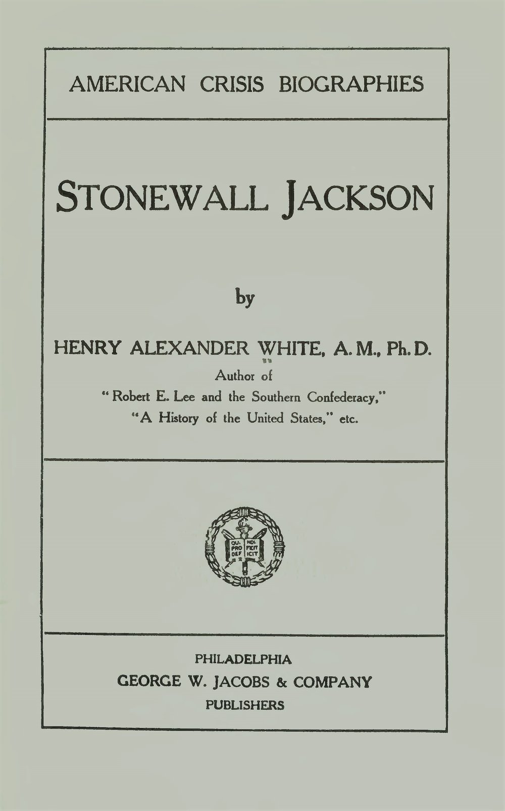 White, Henry Alexander, Stonewall Jackson Title Page.jpg