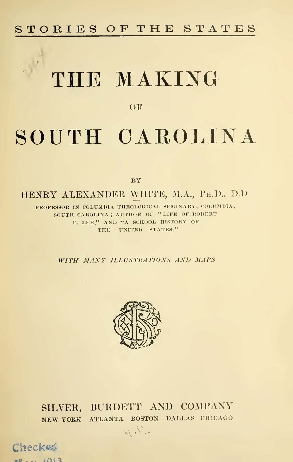 White, Henry Alexander, The Making of South Carolina Title Page.jpg