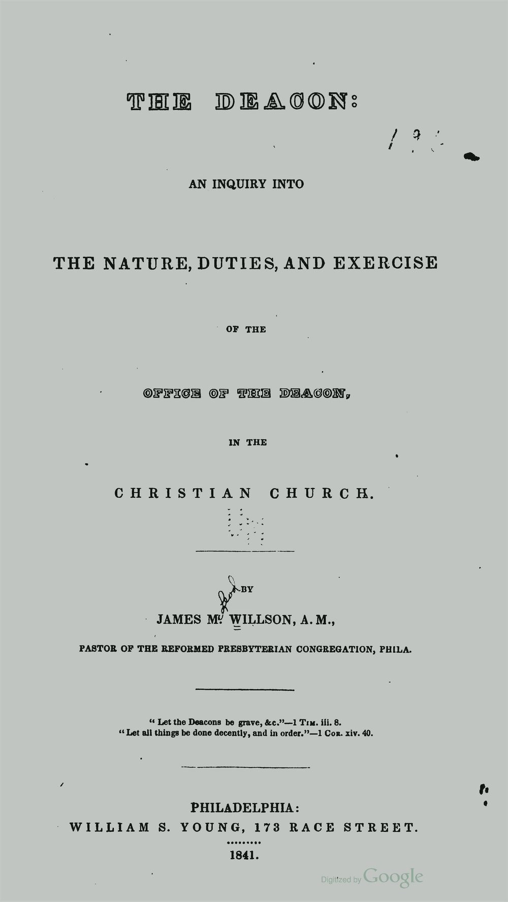 Willson, James McLeod, The Deacon Title Page.jpg
