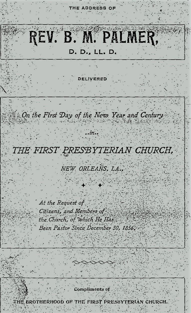 Palmer, Benjamin Morgan, Century Sermon Title Page.jpg
