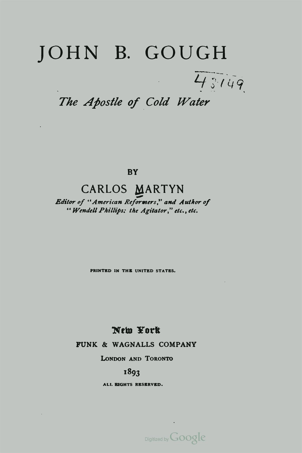 Martyn, William Carlos, John B Gough The Apostle of Cold Water Title Page.jpg