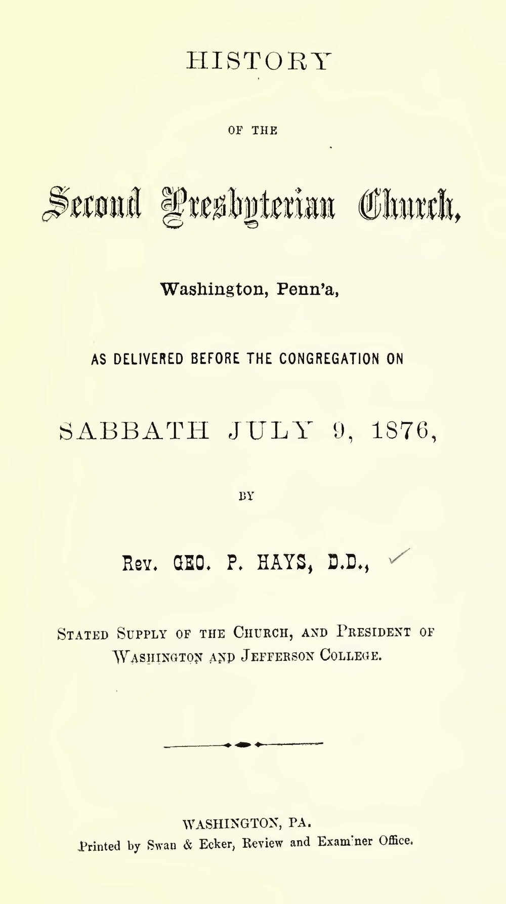 Hays, George Price, History of the Second Presbyterian Church Washington Penna Title Page.jpg