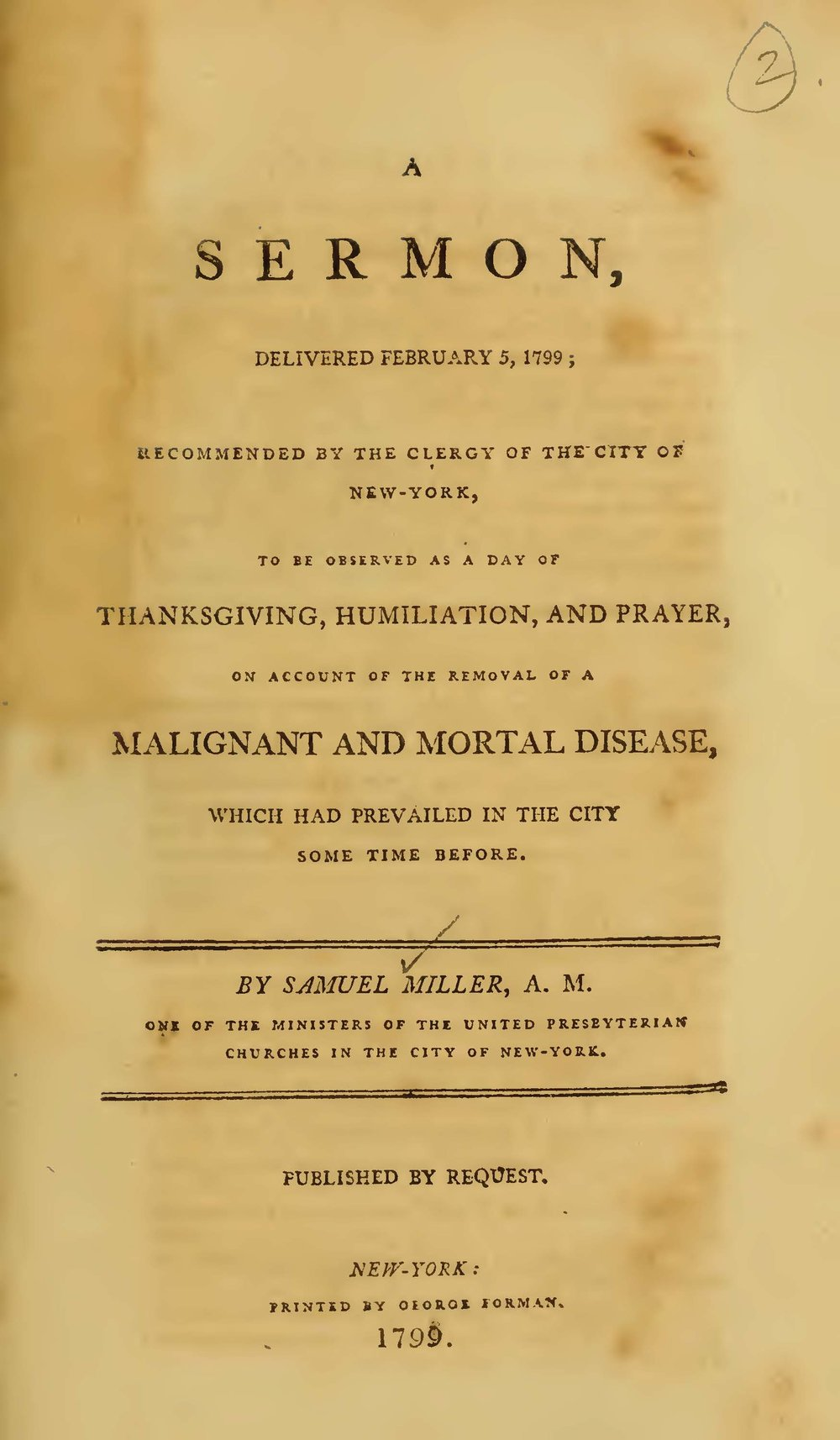 Miller, Samuel, A Thanksgiving Sermon Delivered February 5 1799 Title Page.jpg