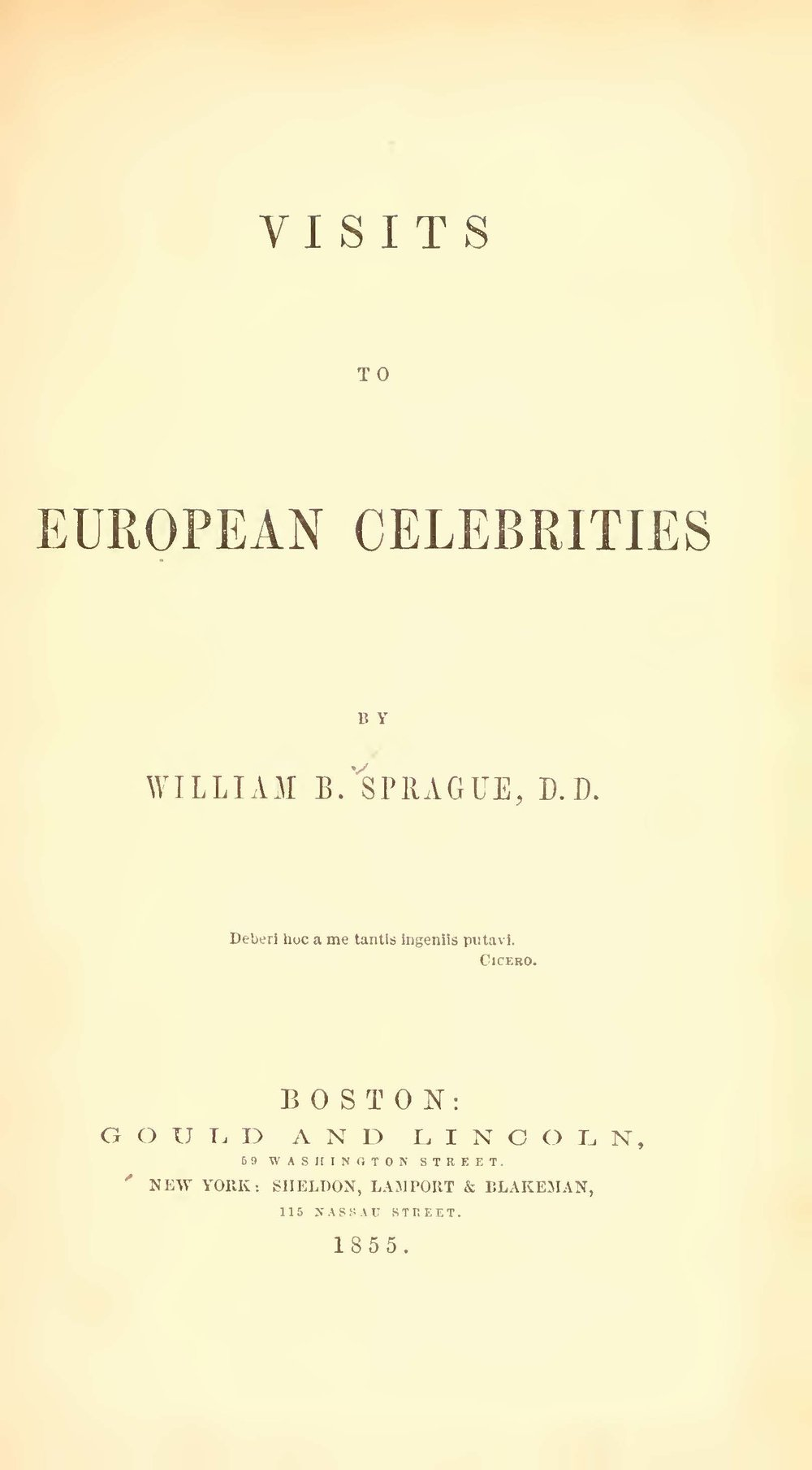 Sprague, William Buell, Visits to European Celebrities Title Page.jpg