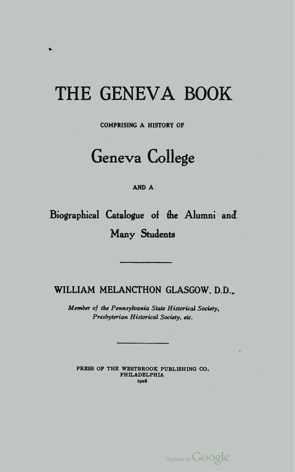 Glasgow, William Melancthon, The Geneva Book Title Page.jpg